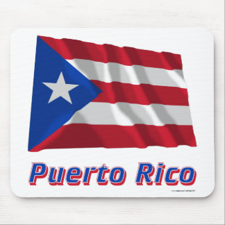 Puerto Rico Waving Flag with Name Mouse Pad