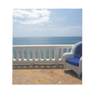 Puerto Rico. Wicker chair and tiled terrace at Notepad