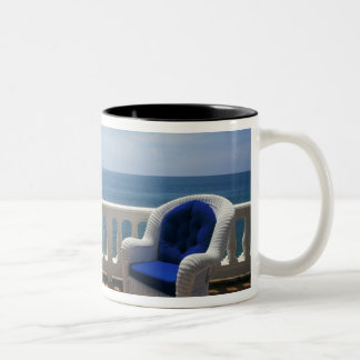 Puerto Rico. Wicker chair and tiled terrace at Two-Tone Coffee Mug