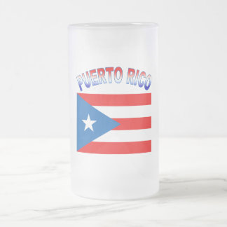 Puerto Rico with Flag 16 Oz Frosted Glass Beer Mug