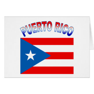 Puerto Rico with Flag Greeting Card