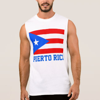 Puerto Rico World Flag Text Sleeveless Shirt