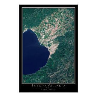 Puerto Vallarta Mexico From Space Satellite Art Poster