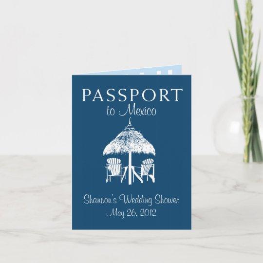 puerto vallarta mexico passport bridal shower invitation