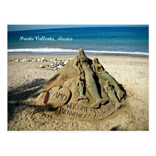 Puerto Vallarta Sand Sculpture Postcard