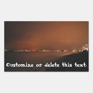 Puerto Vallarta Skyline at Night; Customizable Rectangular Stickers
