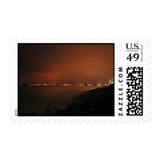 Puerto Vallarta Skyline at Night; No Greeting Postage Stamp