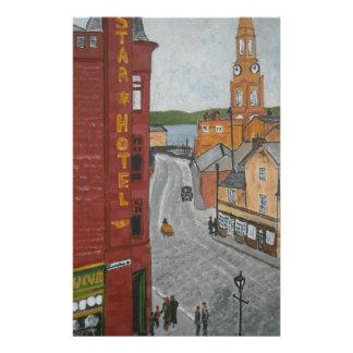 Puerto viejo Glasgow con el reloj de la ciudad Papeleria De Diseño