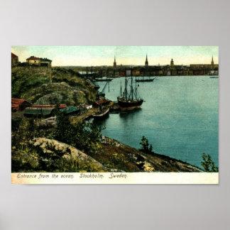 Puerto, vintage de Estocolmo, Suecia Póster