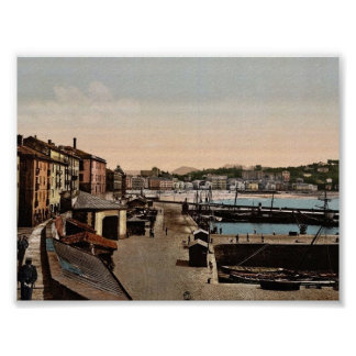 Puerto, vintage Photochrom de San Sebastián, Españ Póster