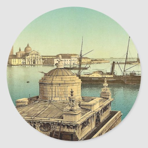 Puerto, vintage Photochrom de Venecia, Italia Pegatina Redonda