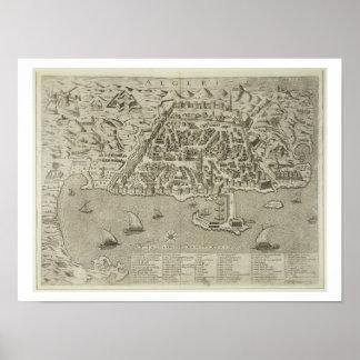 Puerto y ciudad de Argel, c.1572 (grabado) Póster