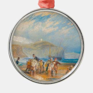 Puerto y costa de Folkestone a Dover, 1829 Adorno Redondo Plateado
