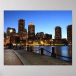Puerto y horizonte de Boston.  Boston es uno de lo Posters