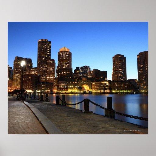 Puerto y horizonte de Boston.  Boston es uno de lo Póster