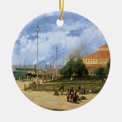 Puerto y talud, 1885 de Nueva York del vintage Adorno Redondo De Cerámica