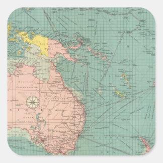 Puertos Australasian, polinesios Pegatina Cuadrada
