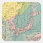 Puertos chinos, japoneses pegatina cuadrada