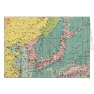 Puertos chinos, japoneses tarjeta