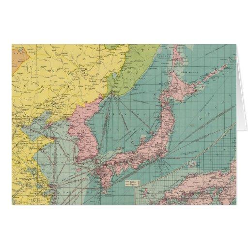 Puertos chinos, japoneses tarjeta de felicitación
