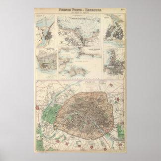 Puertos de Portsand del francés y plan de París Posters
