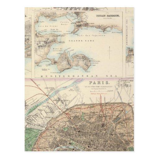 Puertos de Portsand del francés y plan de París Postal
