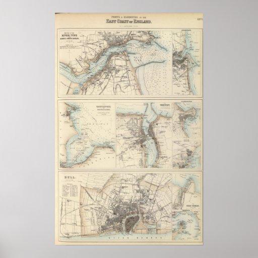 Puertos y puertos en la costa este de Inglaterra Póster