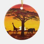 Puesta de sol en África Adorno Navideño Redondo De Cerámica