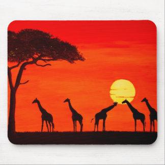 Puesta de sol en África Alfombrilla De Ratones