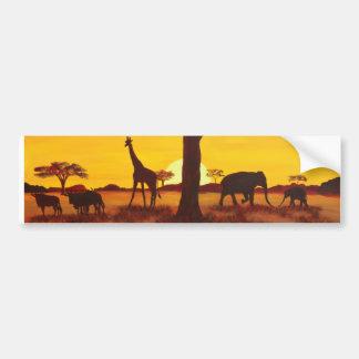 Puesta de sol en África Etiqueta De Parachoque