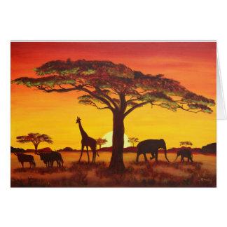 Puesta de sol en África Tarjeta De Felicitación