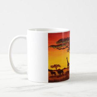 Puesta de sol en África Taza De Café