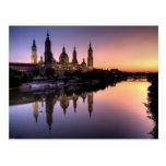 Puesta de sol sobre el Ebro Tarjetas Postales