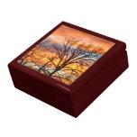 Puesta del sol 1 del invierno caja de recuerdo