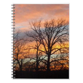 Puesta del sol 1 del invierno libro de apuntes con espiral