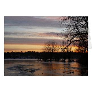 Puesta del sol 4 de enero tarjeta de felicitación