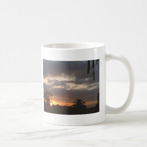 puesta del sol 4 taza básica blanca