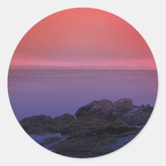 Puesta del sol 5 de Maine Etiquetas Redondas