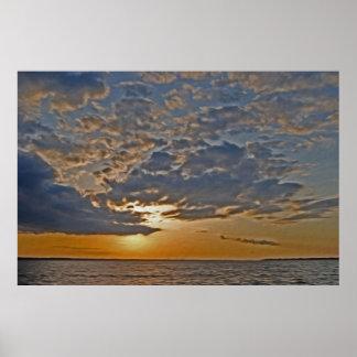 Puesta del sol 5 del río de Rappahannock Póster