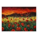 puesta del sol 68 de las amapolas tarjeta
