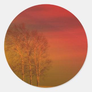 Puesta del sol 6 de Maine Pegatina Redonda