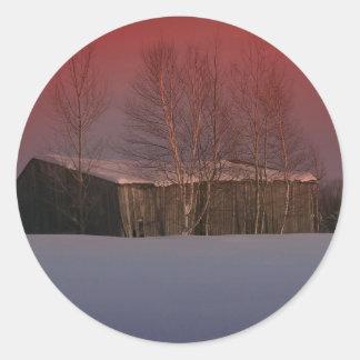 Puesta del sol 7 de Maine Etiqueta Redonda