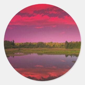 Puesta del sol 9 de Maine Pegatina Redonda