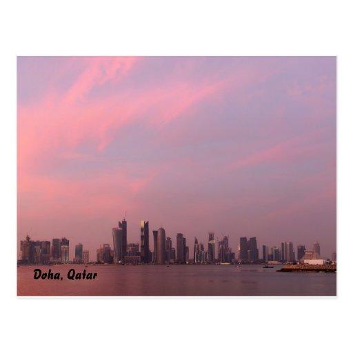 puesta del sol a, Doha, Qatar del día nacional Tarjeta Postal