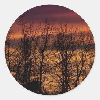 Puesta del sol a través de árboles pegatinas redondas