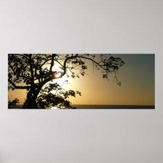 Puesta del sol a través de la impresión panorámica impresiones