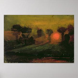 Puesta del sol a través de los árboles, c.1855 póster