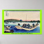 Puesta del sol a través del puente por Katsushika, Posters