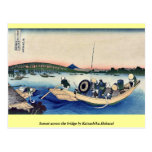 Puesta del sol a través del puente por Katsushika, Tarjetas Postales