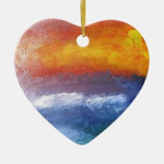 Puesta del sol abstracta de la playa adorno navideño de cerámica en forma de corazón
